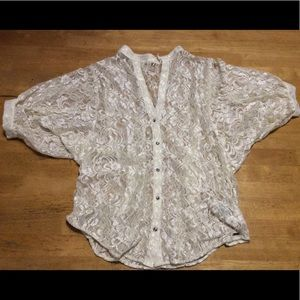 Vintage GUESS Ivory Stretch Lace TOP Jeweled S